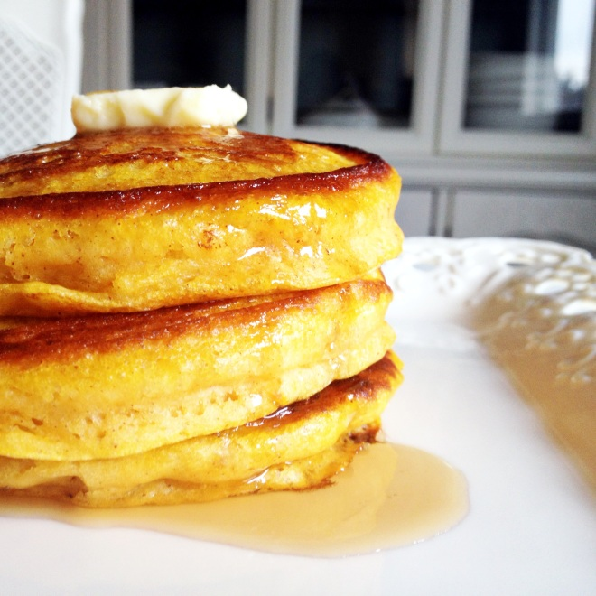 Angel Cake Pancakes with Butter and syrup on white platter