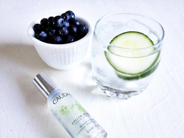 Blueberries for incredible hair, water with cucumber