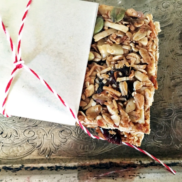 Granola Bars wrapped in red and white string