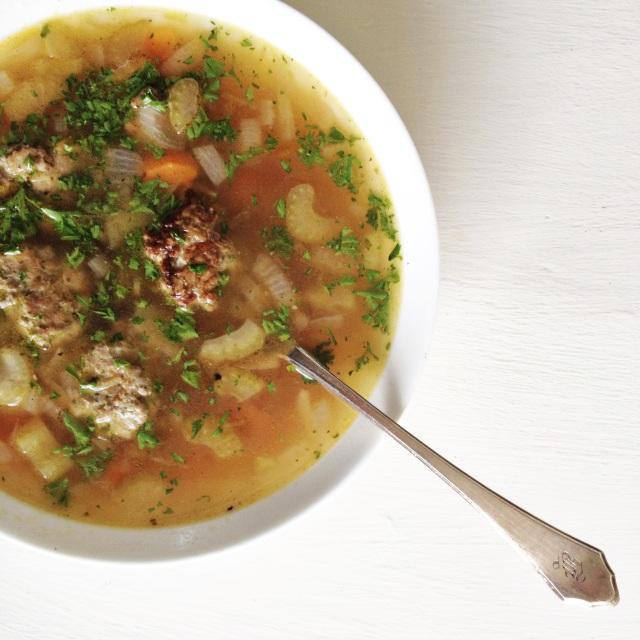 Vegetable Soup with Pesto Turkey Meatballs (Gluten-Free ...