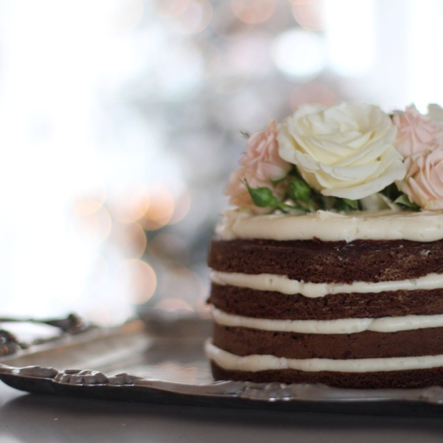 Gingerbread Cake with Cream Cheese Icing on silver platter