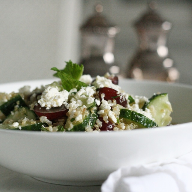 Minted Feta, Grape and Cucumber Quinoa Salad in white bowl