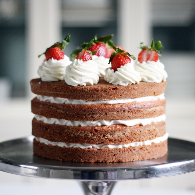 Finished strawberries and cream cake