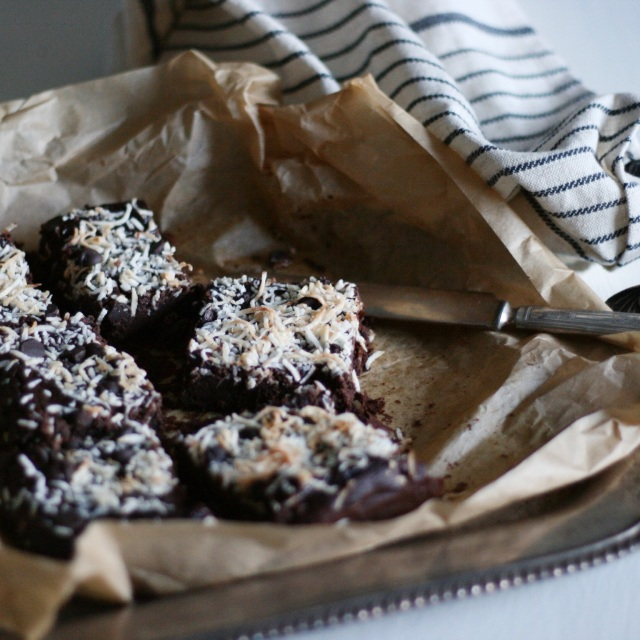 Coconut black bean brownies on platter