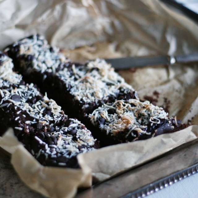 Coconut black bean brownies