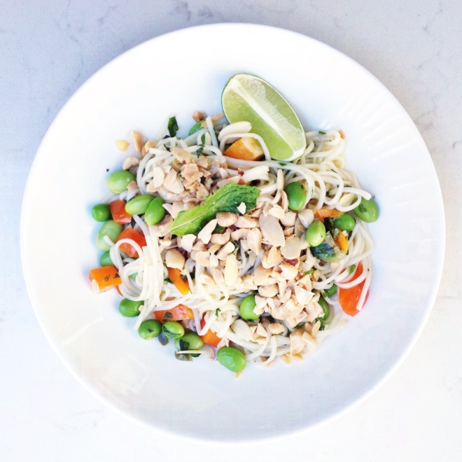 Japanese noodle salad in white bowl